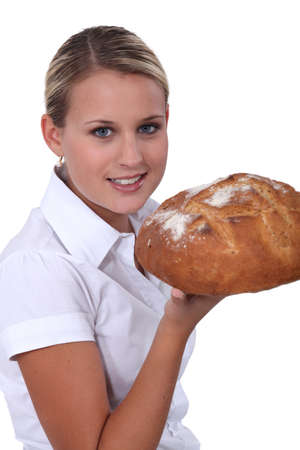 salesgirl: salesgirl in bakery shop