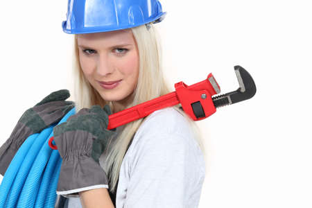 platinum hair: Female plumber