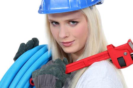 Female plumber photo