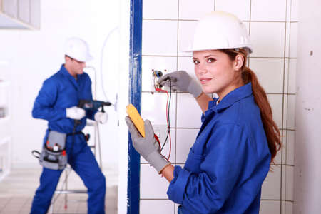 electricians at work Stock Photo - 13791573