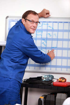Technician completing planning photo