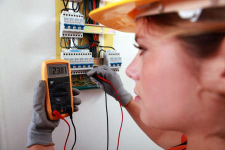 An electrician using a multimeter Stock Photo - 13783105