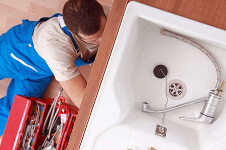 sink: view of a plumber Stock Photo