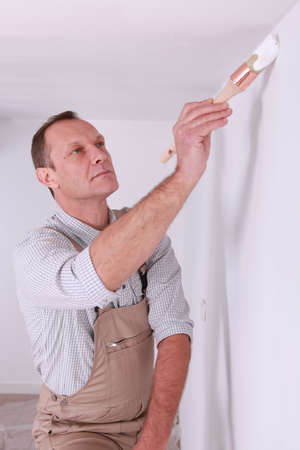 perfectionist: Painter painting wall