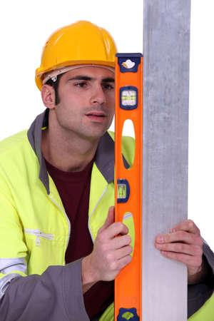 craftsman using ruler Stock Photo - 13810846