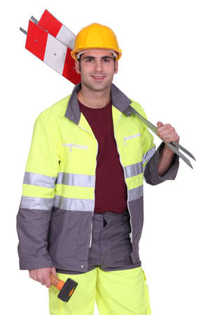 jumpsuite: road worker holding road signs