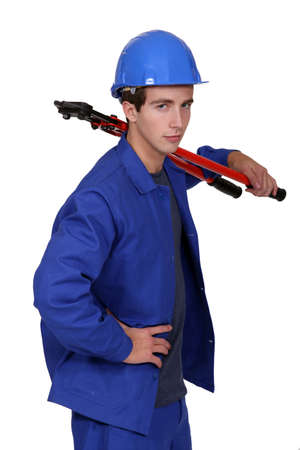 Man with bolt cutters Stock Photo - 13806403