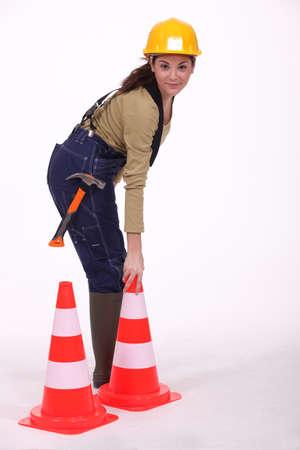 Installing cones. photo