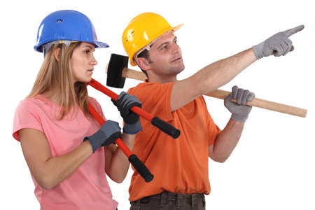 labourers: A team of labourers planning their days work Stock Photo