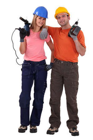 Portrait of laid-back tradespeople Stock Photo - 13807744