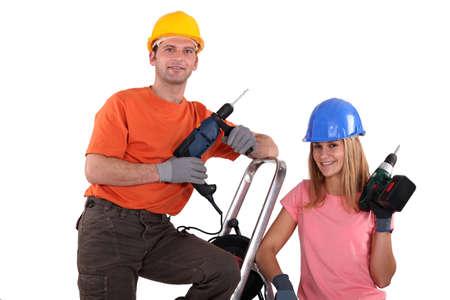 refurbishing: Couple refurbishing their house Stock Photo