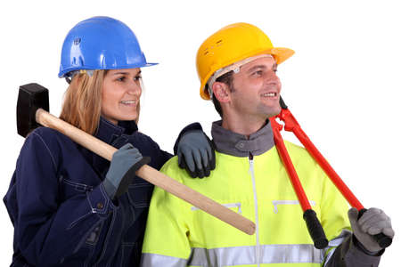 A team of distracted tradespeople Stock Photo - 13810988