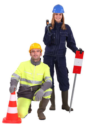 white color worker: Road workers.