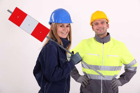 Man and woman construction workers Stock Photo - 13809701