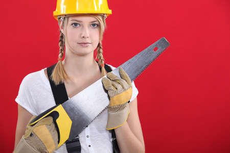 handsaw: Woman with a saw