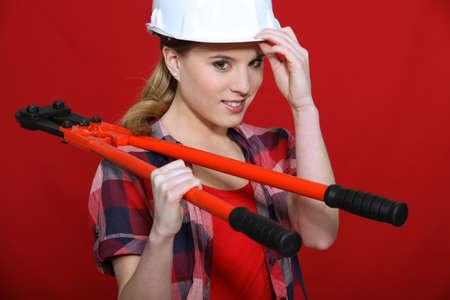accommodate: Women wearing white helmet Stock Photo