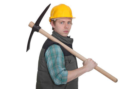 foremaster: craftsman holding a pickax Stock Photo