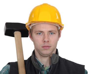 sledgehammer: Worker with a sledgehammer