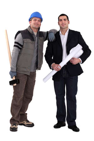 craftsman and businessman posing together photo