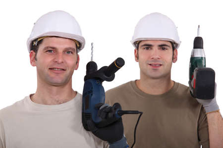 Man with drill in hand Stock Photo - 13853550