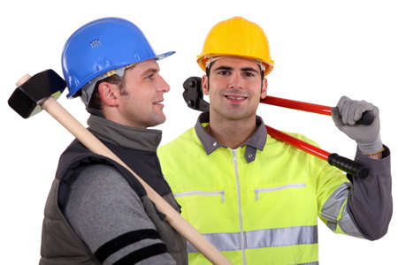 Two builders with tools photo