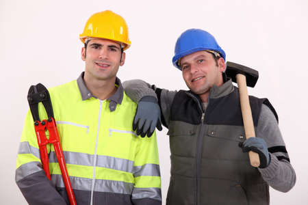 handtools: Two manual workers stood together