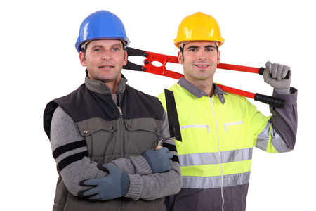 two craftsmen posing together photo