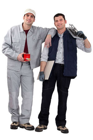 two handymen working together photo