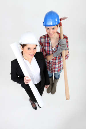 Female architect and builder photo