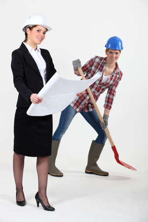 craftswoman: businesswoman and craftswoman posing together
