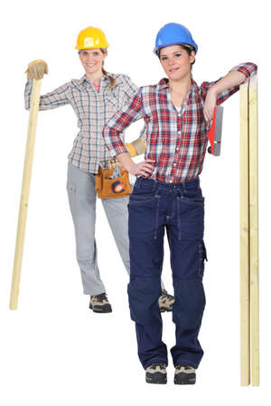 Two female carpenter Stock Photo - 13852212