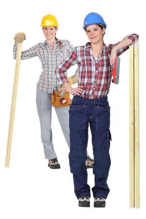 Two female carpenter photo