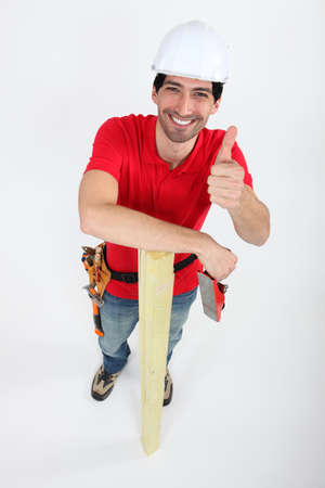 Thumbs up from a carpenter Stock Photo - 13852491