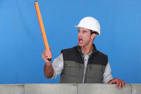 laborer: angry laborer Stock Photo
