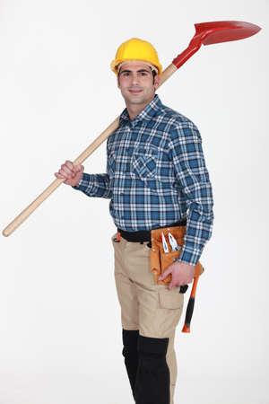 Laborer isolated on white background photo