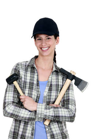 Woman with a mallet and an axe Stock Photo - 13899737