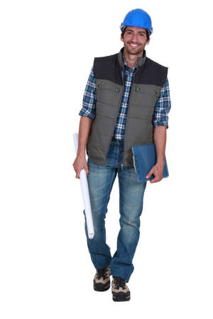 rolled up sleeves: Foreman with clipboard
