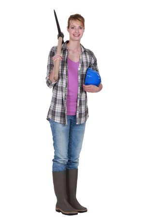 Woman holding Axe photo