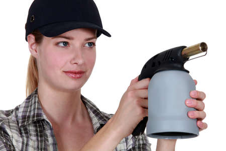 blowtorch: Woman with a blowtorch