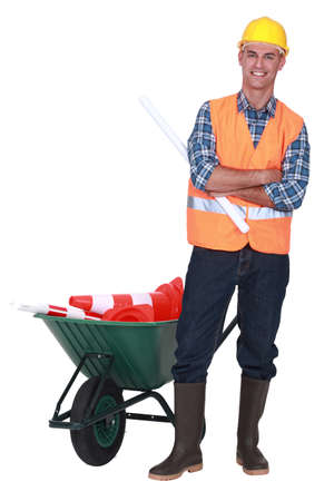 road worker posing photo