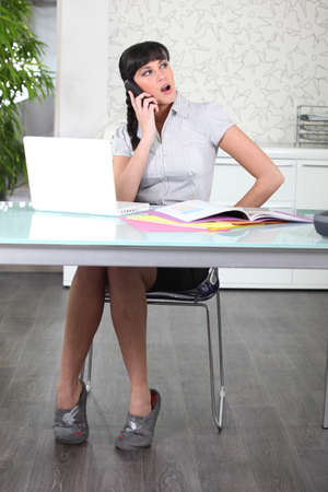 exceeded: Secretary yawning on phone