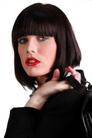 Stunning businesswoman with a blunt fringed bob photo