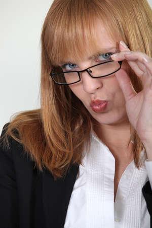 Closeup of a seductive woman pouting photo