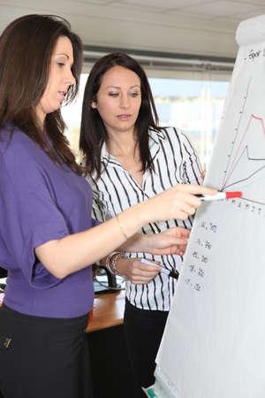 Woman explaining graph photo