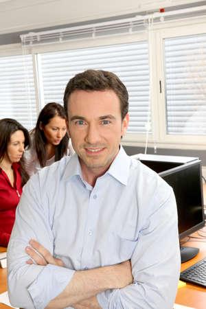 Businessman running an enterprise photo