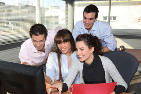 multinational: Business team laughing