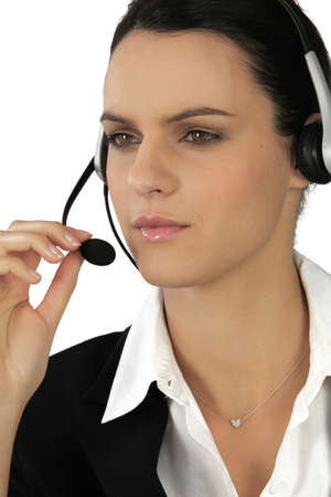 Personal assistant on phone with headset photo