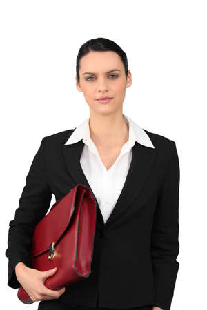 Brunette with red briefcase Stock Photo - 13849443