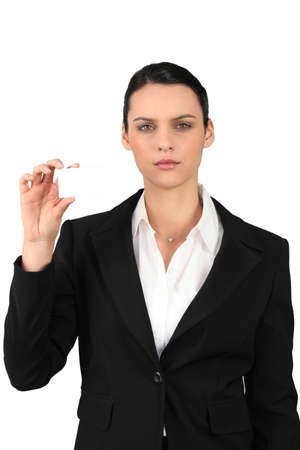 Businesswoman showing business card for message photo