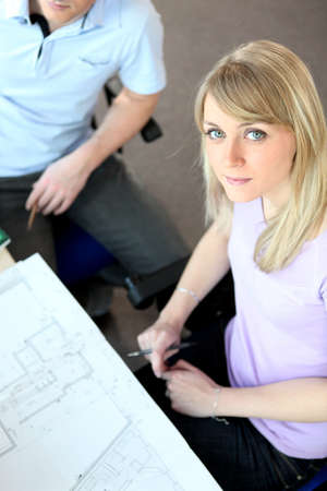 specialized job: High-angle shot of architects working on a project Stock Photo